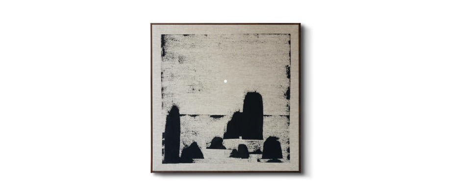 Simon Vendin Landscape IX Vinylfärg på linneduk med valnötsbetsad träram