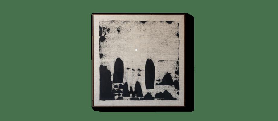 Simon Vendin Landscape XI Vinylfärg på linneduk med valnötsbetsad träram