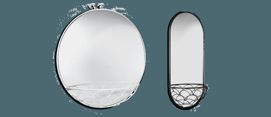 SMD Design Haga Väggspegel i rund och avlång form, i färgerna vit och mörkgrå
