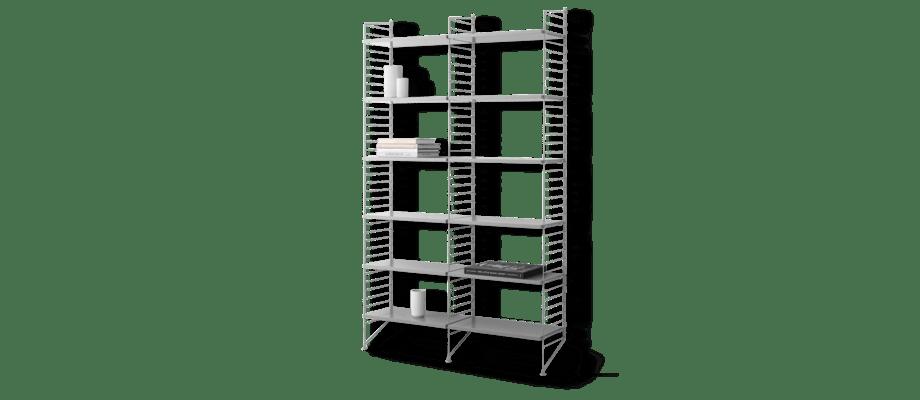 String Bokhylla med hela 12 hyllplan i grålackad MDF och grå golvgavlar på 200 centimeter