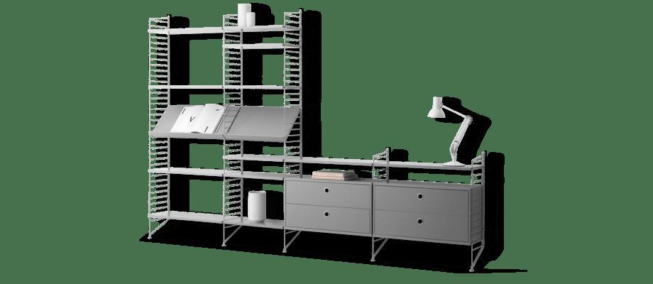 String Bokhylla med lådor, hyllplan, tidskriftshyllor med både höga och låga golvgavlar i grått