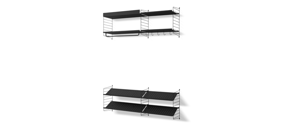 Stringhylla för hallen i svart färg med både hatthylla och skohylla i metall