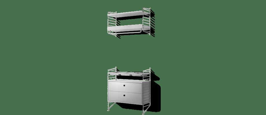 Stringhylla med hatthylla, filtskålar och skåp i en härligt grå färg