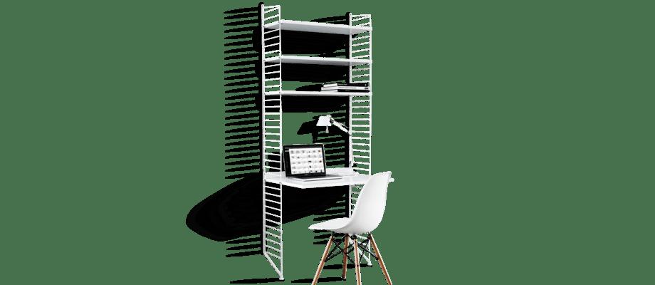 Stringhylla med skrivbord i vit färg