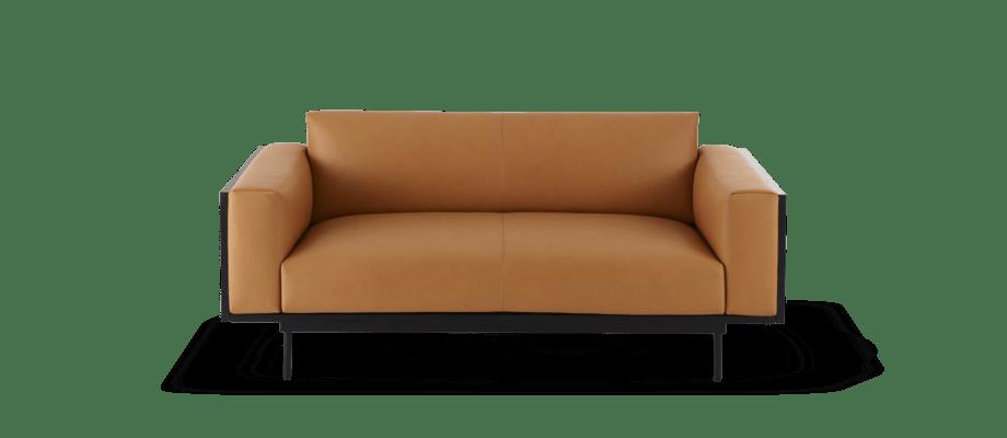 Swedese Wood 2-sitssoffa i cognacfärgat läder med svart träram