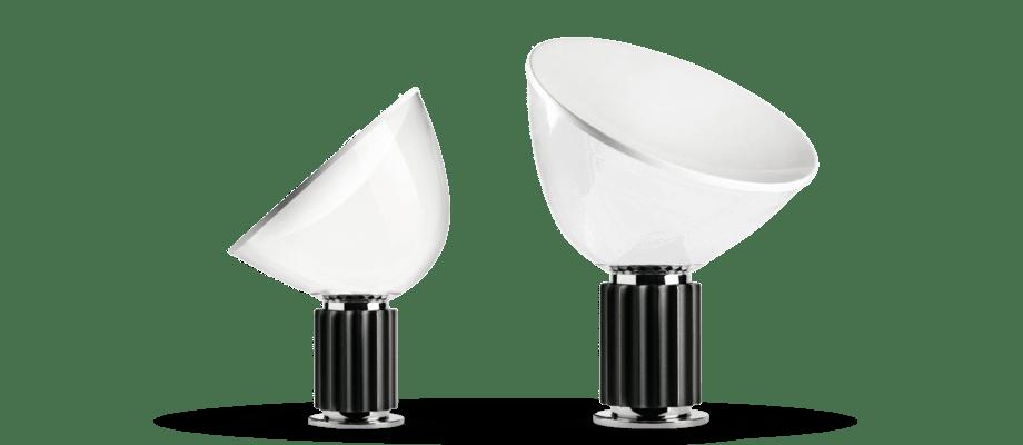 Lampan Taccia från Flos med skärm i glas eller plast