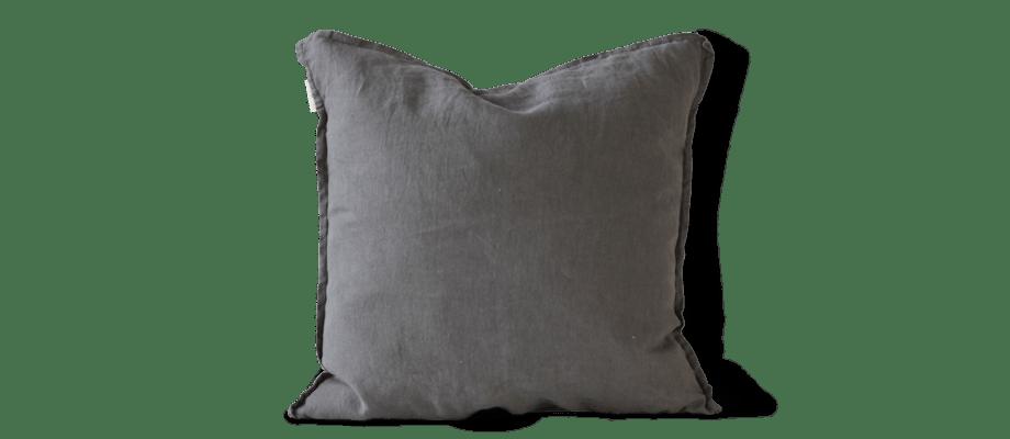 Tell Me More Cushion Cover Linen Kuddfodral Dark Grey i linne