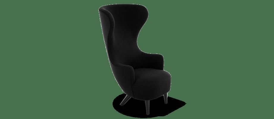 Tom Dixon Wingback Chair Fåtölj i tyget Hallingdal 65 i svart färg