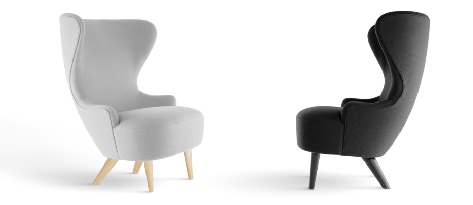 Tom Dixon Wingback Micro Chair Fåtölj i tyget Hallingdal med ben i massiv ek