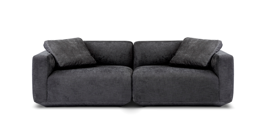&Tradition Develius 2-sitssoffa i ett grått tyg