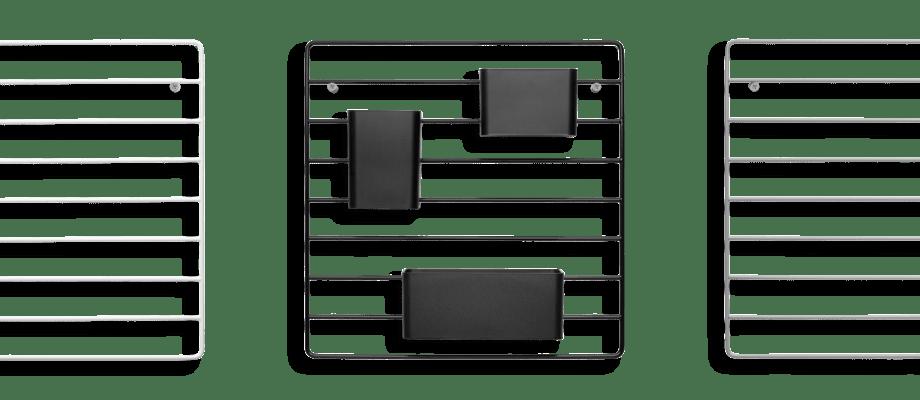 String Väggraster passar perfekt med organizers i färgerna vit, svart, grå eller gul