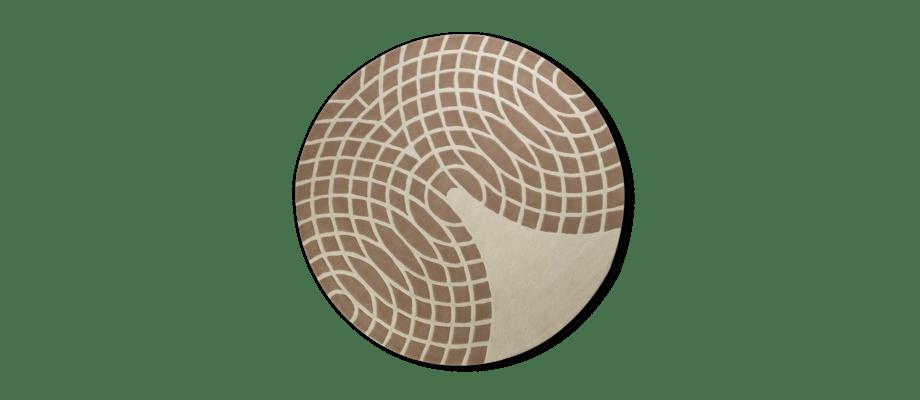 Verpan Panton Grande Rug Brown & Sand Handtuftad rund matta i två toner av grått