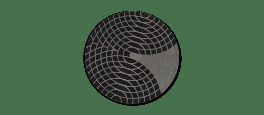 Verpan Panton Grande Rug Grey Handtuftad rund matta i två toner av grått