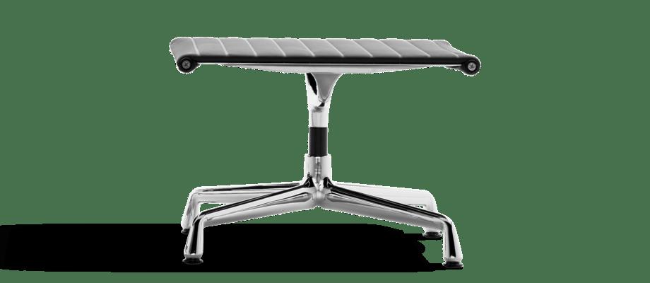 Vitra Charles & Ray Eames EA 125 Fotpall med svart skinnklädsel