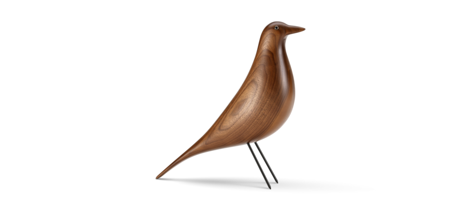 Vitra Eames House Bird Walnut Träfågel i valnöt med svartlackerade ben i stål