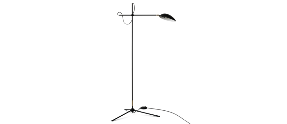 Watt & Veke Spoon Golvlampa i svartlackerat stål och mässing