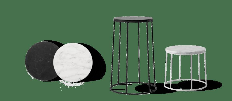 Förvandla din Wire Base från Menu till ett enkelt sidobord med skiva i marquina- eller carrarmarmor