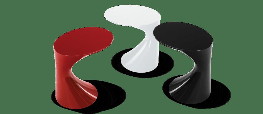Zanotta Tod Sidobord i röd, vit och svart färg